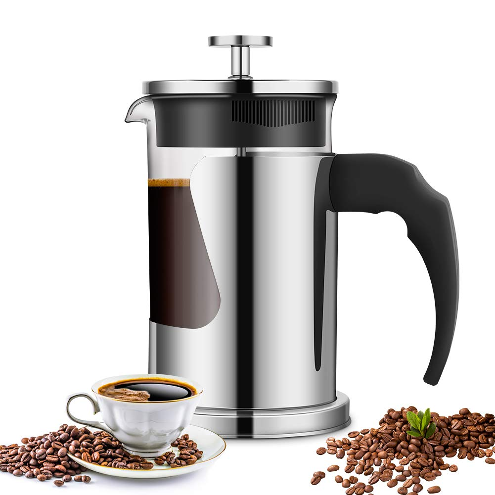 French Press Coffee Maker for 2 to 3 Cups, Ejoyous 20 OZ Coffee Tea Espresso Press with 304 Grade Stainless Steel, Heat Resistant Borosilicate Glass, Great for Home Office Restaurant Cafe