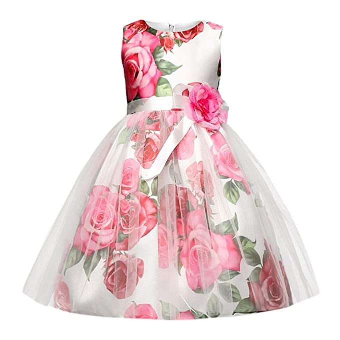 404b55f6e059a Moonker Girl Dress,Children Kid Girls Zip Belt Flower Formal Princess Net  Yarn Tutu Dress