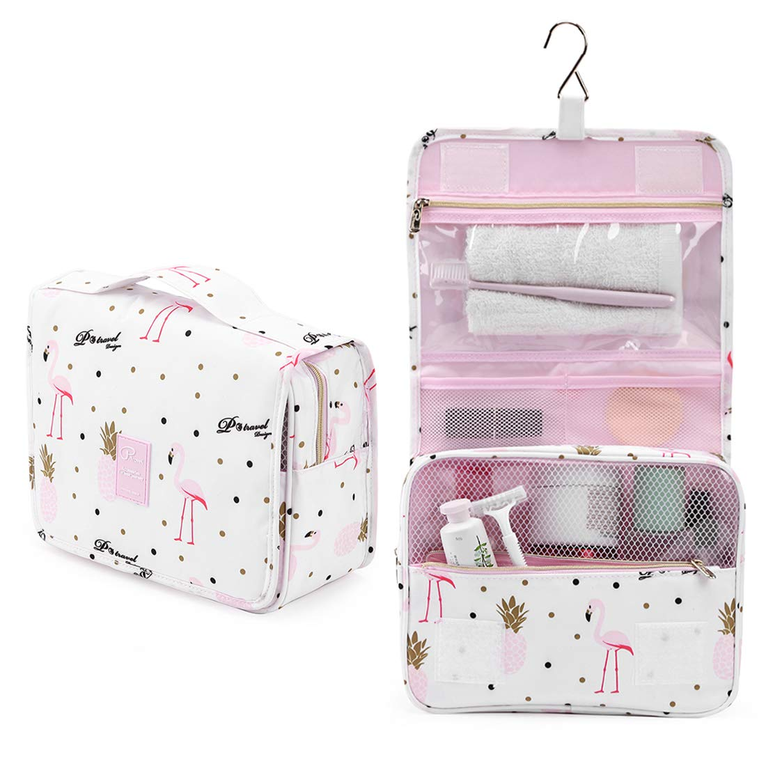 Houmass Hanging Travel Toiletry Bag Makeup Cosmetic Toiletries Organizers Compact Waterproof for Women Vacations white