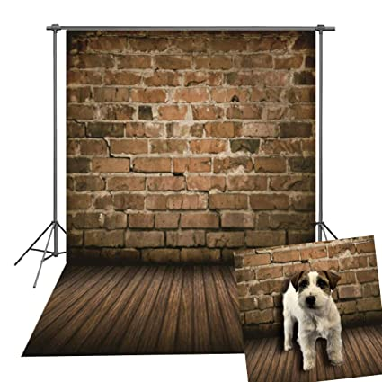 Brick Wall Vinyl Photo Background Wooden Floor Decoration Studio Support  Photo Background Child Studio Photography Background 5x7FT