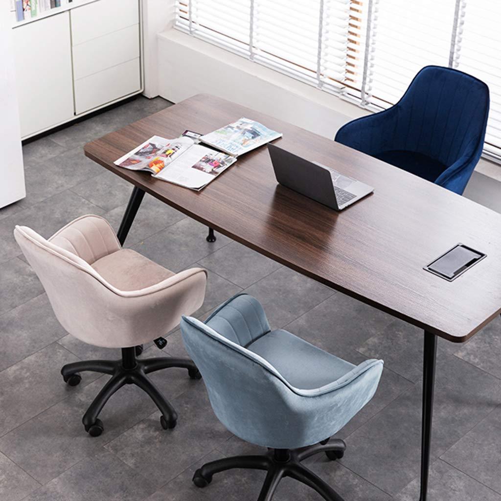 YLMF Ergonomisk svängbar kontorsstol justerbar höjd hög densitet återstuds svamp uppgift kontorsstol flanell kudde och ryggstöd nylonfötter Ljusblått
