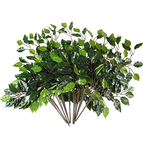 GTidea 12pcs Artificial Silk Ficus Tree Branches Faux Fake Lamination Green Leaves Arrangements Anti-UV Home Garden Office Market Restaurant Wedding Decor (Wedding Tree Branches)
