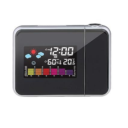 Ballylelly Digital Tiempo de proyección LCD de Alarma de Reloj, Digital Tiempo de proyección LCD