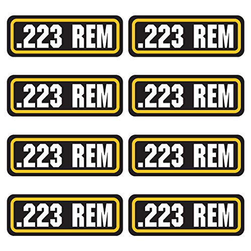 223 REM ammo sticker 8 PACK - LAMINATED Can Box Vinyl Decal bullet ARMY Gun safety Hunting label ()