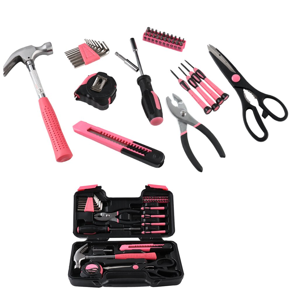 SELLBINDING Basic Tool Kit Set 39 PCS,Tool Kit for Women Gift, Pink Ladies Tool Kit with Tool Box Storage Case, General Repair Hand Tool Set College Student Gifts Starter Household