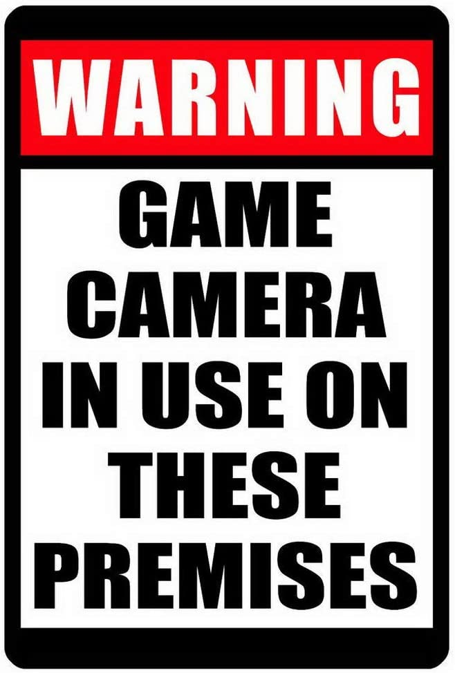 Houseuse No Trespassing Sign Game Camera in Use Sign Durable Weather Proof Home Decor Metal Signs 8x12 Inch