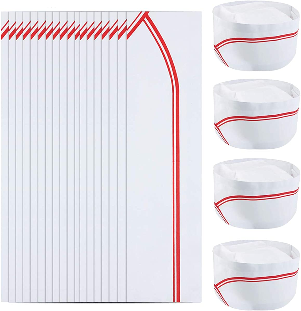 Owevvin 60 Pieces 3.8 Inch Disposable Paper Chef Hat with Red Strips, Soda Jerk Paper Cap Kitchen Cooking Chef Cap Retro Diner Food Server Hat for Restaurants, School Classes, Theme Party