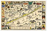 """Map of the romantic Island of Long Beach, New Jersey circa 1940 - measures 36"""" wide x 24"""" high (915mm wide x 610mm high)"""