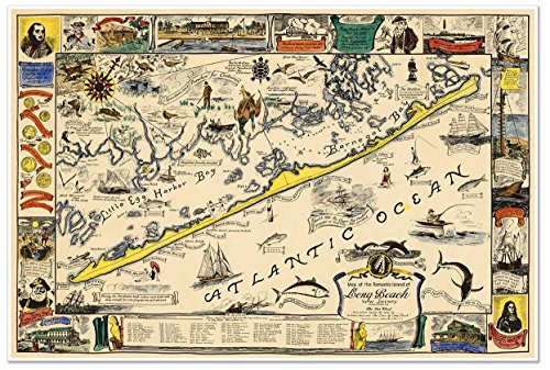 Map of the romantic Island of Long Beach, New Jersey circa 1940 - measures 36