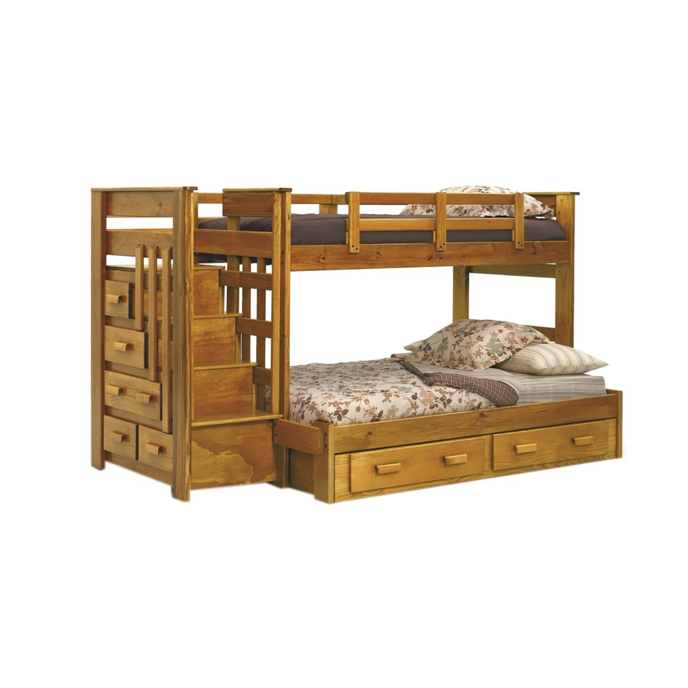 Amazon Chelsea Home Furniture 36500 S Twin Over Full Bunk Bed With Stairway Chest And Underbed Storage 62H Honey Kitchen Dining