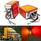 led 39 - Amak 2X Amber + Red 39-LED Square Pedestal Stud Mount Fender Double Face Stop Turn Signal Tail Lights Lamps for Truck Trailer