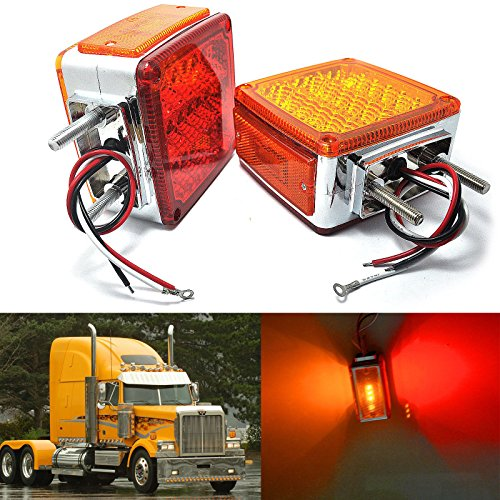 Amak 2X Amber + Red 39-LED Square Pedestal Stud Mount Fender Double Face Stop Turn Signal Tail Lights Lamps for Truck Trailer
