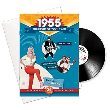 1955 cumpleaños o aniversario regalos - 1955 4-en-1 tarjeta y regalo - Historia de su Año, CD, Music Download - 15 Gráfico originales Canciones - ...