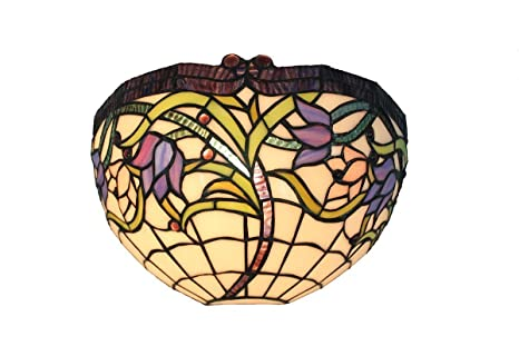 Vigne sauvage applique murale en verre style tiffany vitrail