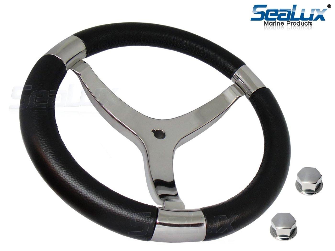 SeaLux Marine Premier Genuine Leather Comfort Grip 316 Stainless Steel 14'' dia. 3-Spoke Sport Boat Yacht Steering Wheel (Color Black) by SeaLux Marine Products