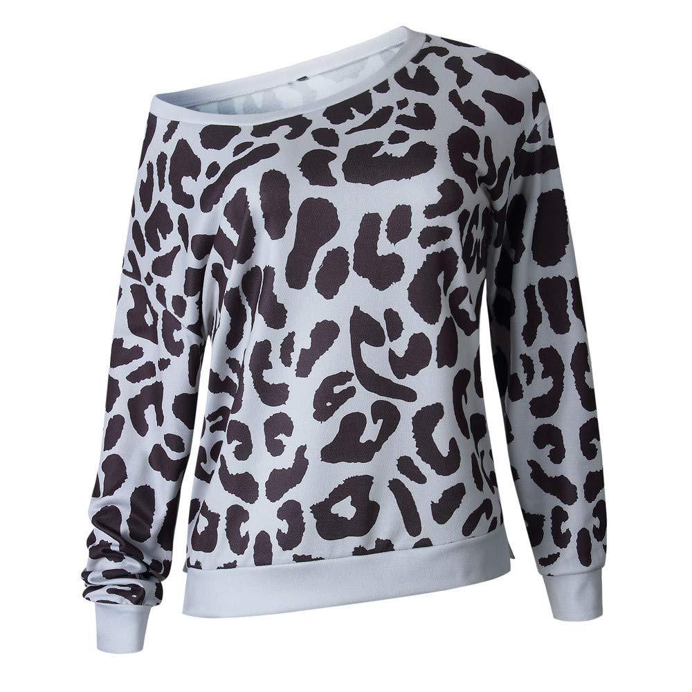 LUCKYCAT Sudadera con Estampado de Leopardo Casual para Mujer ...