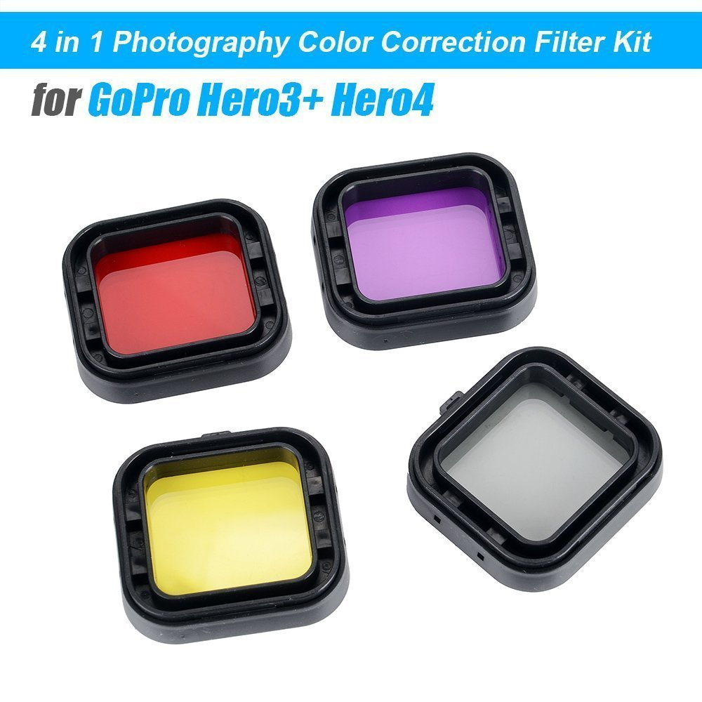 Red Yellow Purple Grey Williamcr Color Correction Compensation Filters for Underwater Video Photography Filming Sport Action Camera 4 Pack Diving Lens Filters for GoPro Hero 4 3+