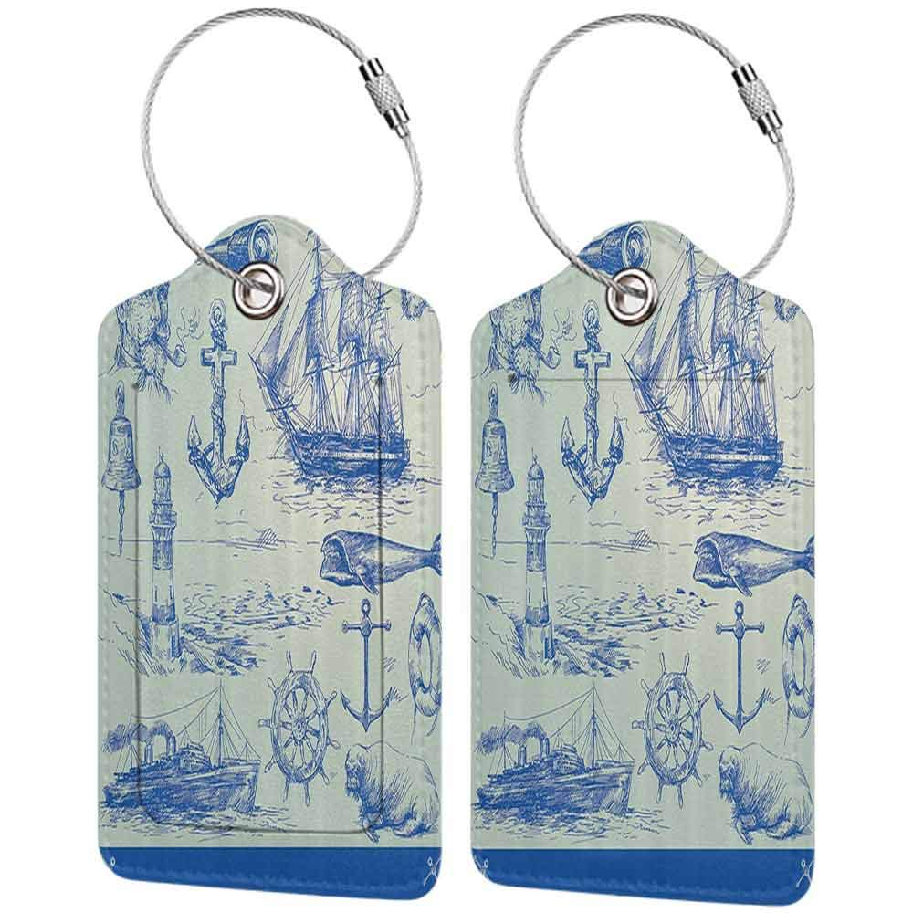Waterproof luggage tag Nautical Anchor Whale Sail Boat Steering Wheel and Old Lighthouse Fishing Theme Sketchy Soft to the touch Blue Eggshell W2.7 x L4.6