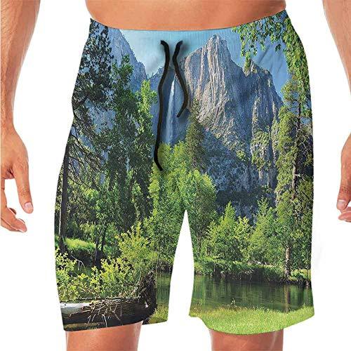 - ScottDecor Quick-Dry Beach Shorts for Men Yosemite,Mountain Waterfall Forest Swim Shorts Men XL
