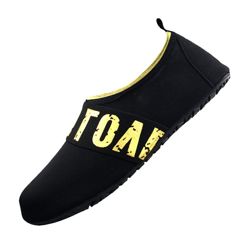 RABIGALA Water Shoes Barefoot Quick-Dry Aqua Socks for Beach Pool Surf for Women Men Kids (M, Ra66/LOVE.Black)