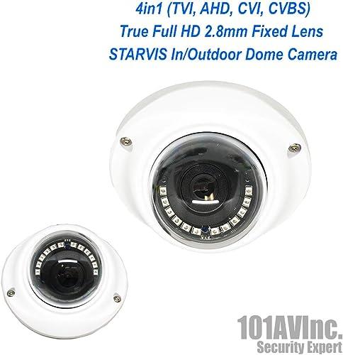 101AV 1080P SONY STARVIS True Full-HD 4in1 TVI, AHD, CVI, CVBS 2.8mm Fixed Lens Indoor Outdoor Dome Camera 20 meter IR Range DWDR OSD IP66