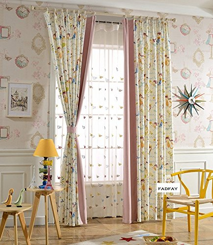 FADFAY Cute Cartoon Mermaid Curtains Girls Bedroom Window Blinds Blackout  Curtains Eyelet Style 2Panels