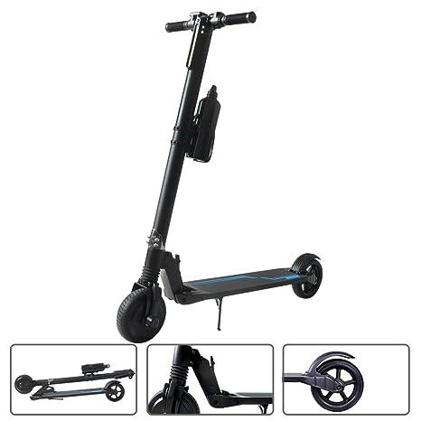 SJF Patinetes eléctricos - E-scooter portátil plegable de 6.5 pulgadas con freno a prueba de golpes, electrónico, manillar plegable y luz LED para ...