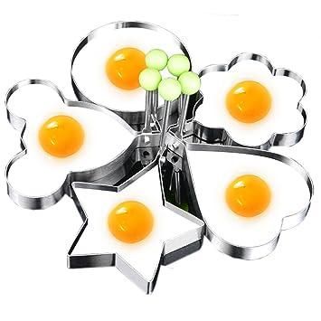 Moldes para huevos con forma de huevo frito, anillo de acero inoxidable, entrega al azar: Amazon.es: Hogar