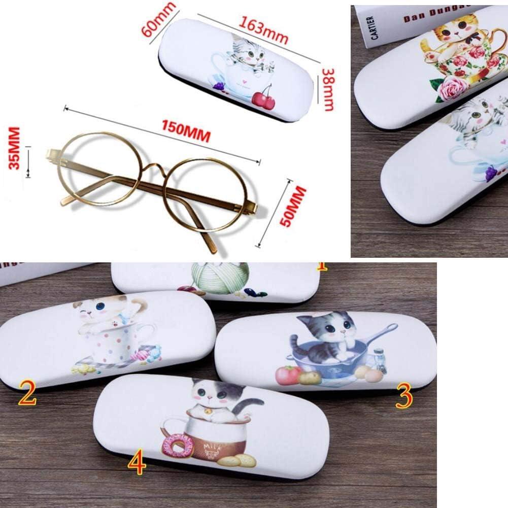 PU Leder Harte Schale Brillenetui Brillen-Aufbewahrungskoffer Schutzh/ülle f/ür Gl/äser Vierbl/ättriges S/ü/ße Katze 08