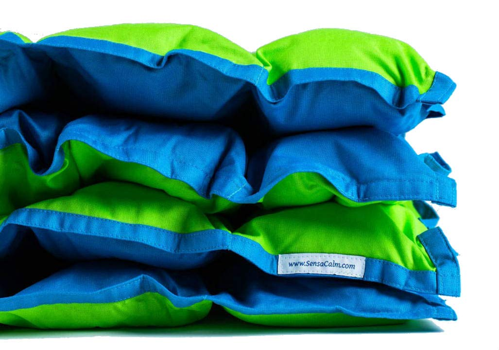 SensaCalm Therapeutic Small Weighted Blanket Jasmine Green with Teal Blue, 5 lb (for 40 lb Child)