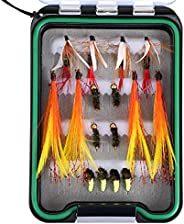 Goture Fly Fishing Flies Kit - HandmadeDry Wet Fly Fishing Lure with Waterproof Fly Box Includes Bee Bird Nym