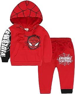 Nine Minow 2PCS Toddler Kids Boys Spiderman Coat Top+Pants Set Kids Clothes Outfits