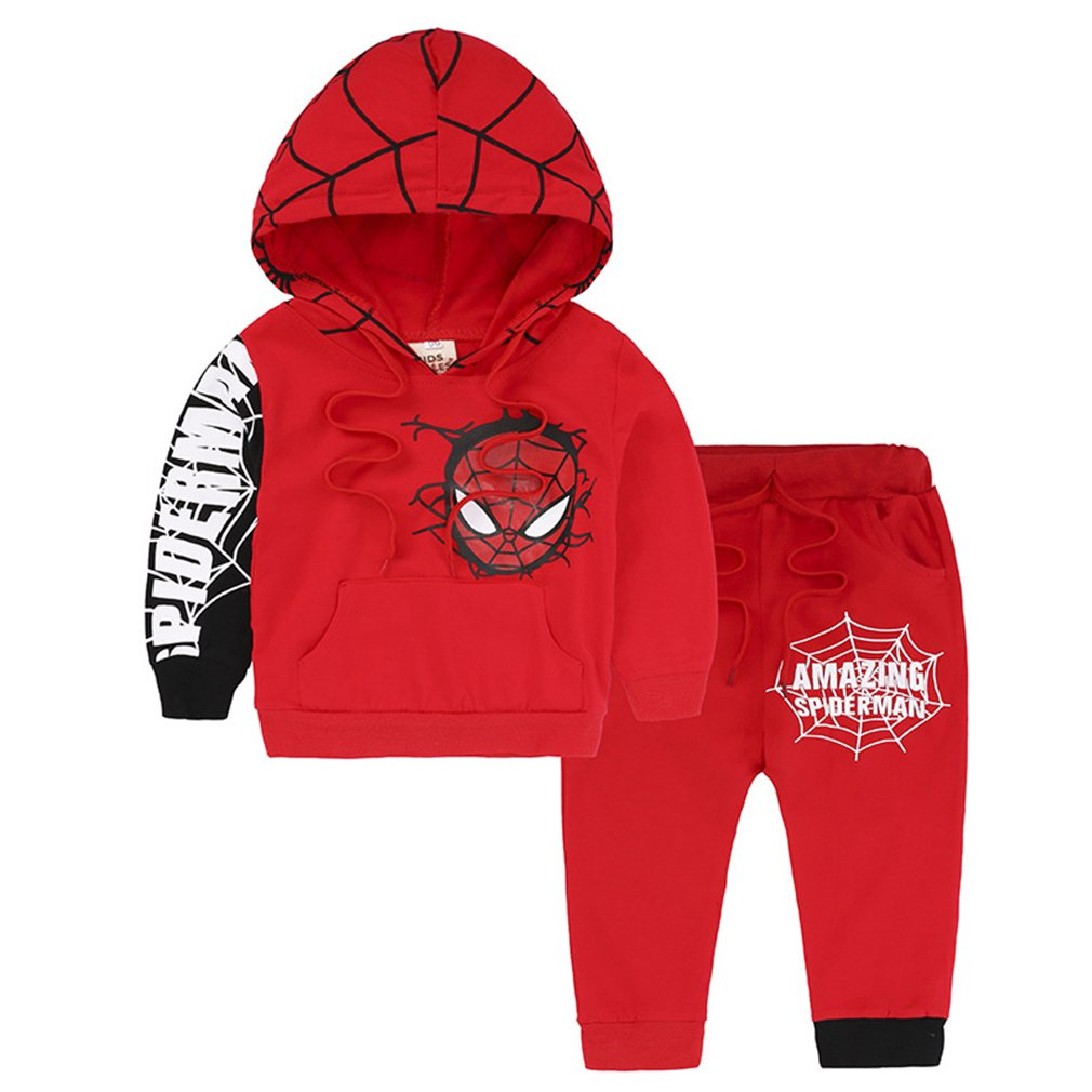 Nine Minow 2PCS Toddler Kids Boys Spiderman Coat Top+Pants Set Kids Clothes Outfits