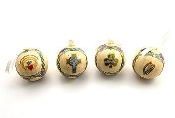 Royal Tara Irish Christmas Ornaments Globe Baubles Boxed Set Of 4