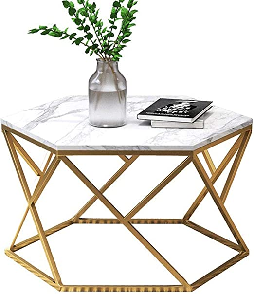 YNN Table Table Basse hexagonale en marbre Salon Table d ...