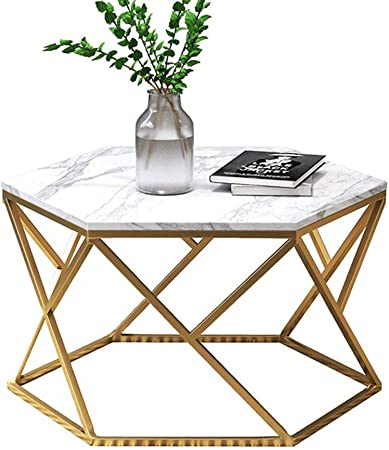 Ynn Table Table Basse Hexagonale En Marbre Salon Table D