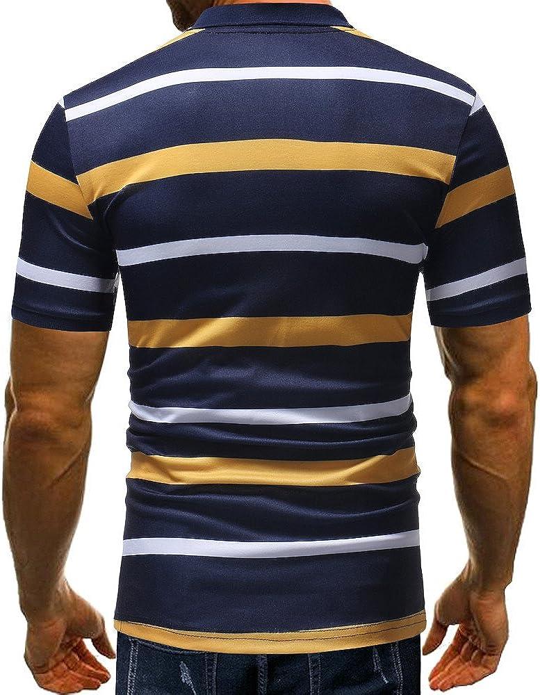 Camiseta para Hombre,Verano Polo Rayas Impresi/ón Camiseta Deporte Manga Corta Originales Moda Slim Fit Casuales T-Shirt Blusas Camisas algod/ón Suave b/ásica vpass