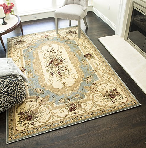 Rugs America Sorrento Area Rug, 7-Feet 10-Inch 10-Feet 10-Inch, Aubusson Light Blue from Rugs America