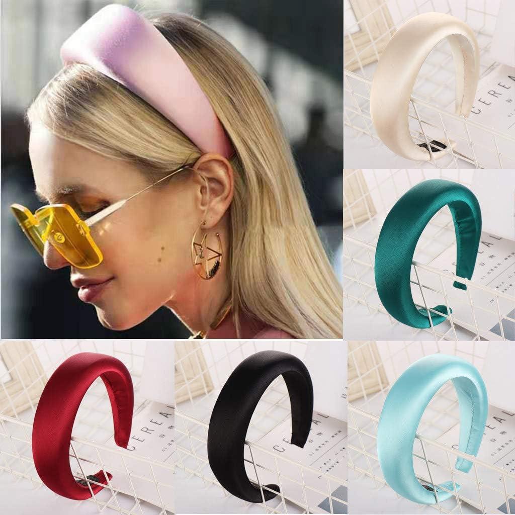 Lethez Sponge Hairband Women Wide Hair Head Hoop Satin Sweet Girls Hair Headband Hair Accessories