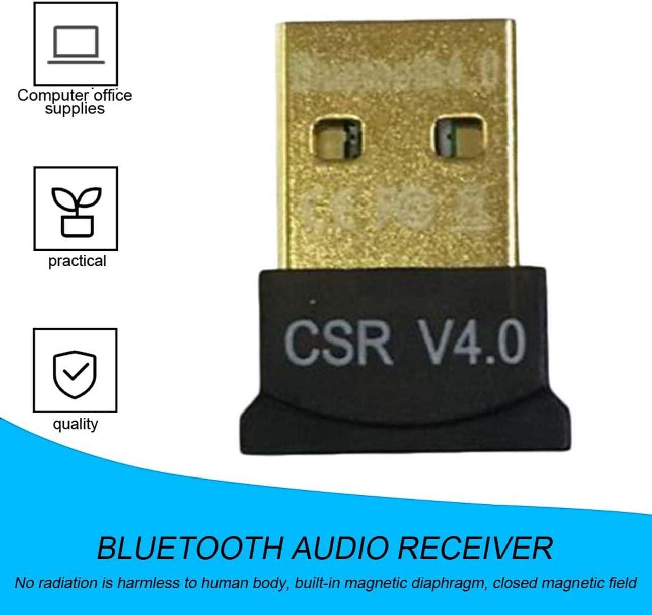 MachinYeser Mini USB Adaptador Bluetooth CSR Modo Dual Wireless Bluetooth V4.0 EDR Dongle Transmisor USB para Windows 7 8 10 PC portátil Negro