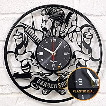 Barber Shop clock vinyl record Hipster Hairdresser Hair Salon Beauty Salon vinyl clock decor art vinyl record clock decorations unique handmade decor laser ...