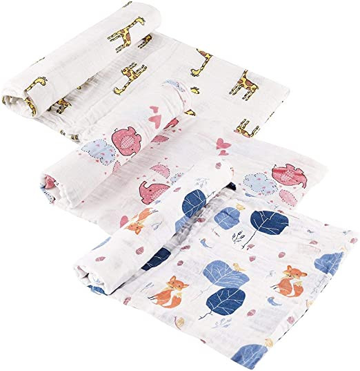 Lawei - Juego de 3 mantas de muselina para bebé (algodón suave ...