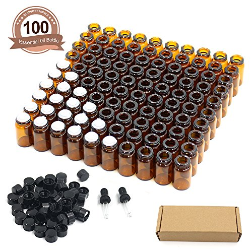 Fomei 100 Packs Oil Bottles for Essential Oils 2 ml (5/8 Dram) Amber Glass Vials Bottles, with Orifice Reducers and Black Caps, With 2 Free Glass Transfer Eye droppers (2 Ml Vial)