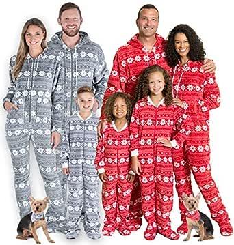 SleepytimePjs Women's Family Matching Christmas Fleece Red Snowflake Onesie Footed Pjs Youth 12 Kid's Red & White Snowflake