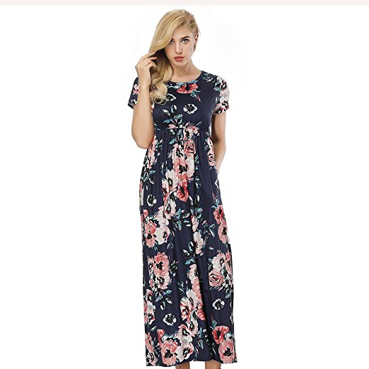 b91e5a823c9f KUREAS Women s Short Sleeve Maxi Dress Floral Printed Casual Long Dresses  with Pocket