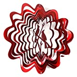 WorldaWhirl Whirligig 3D Wind Spinner Hand Painted Stainless Steel Cardinal (12'' Inch, Red)