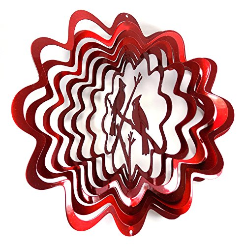 WorldaWhirl Whirligig 3D Wind Spinner Hand Painted Stainless Steel Cardinal (6.5