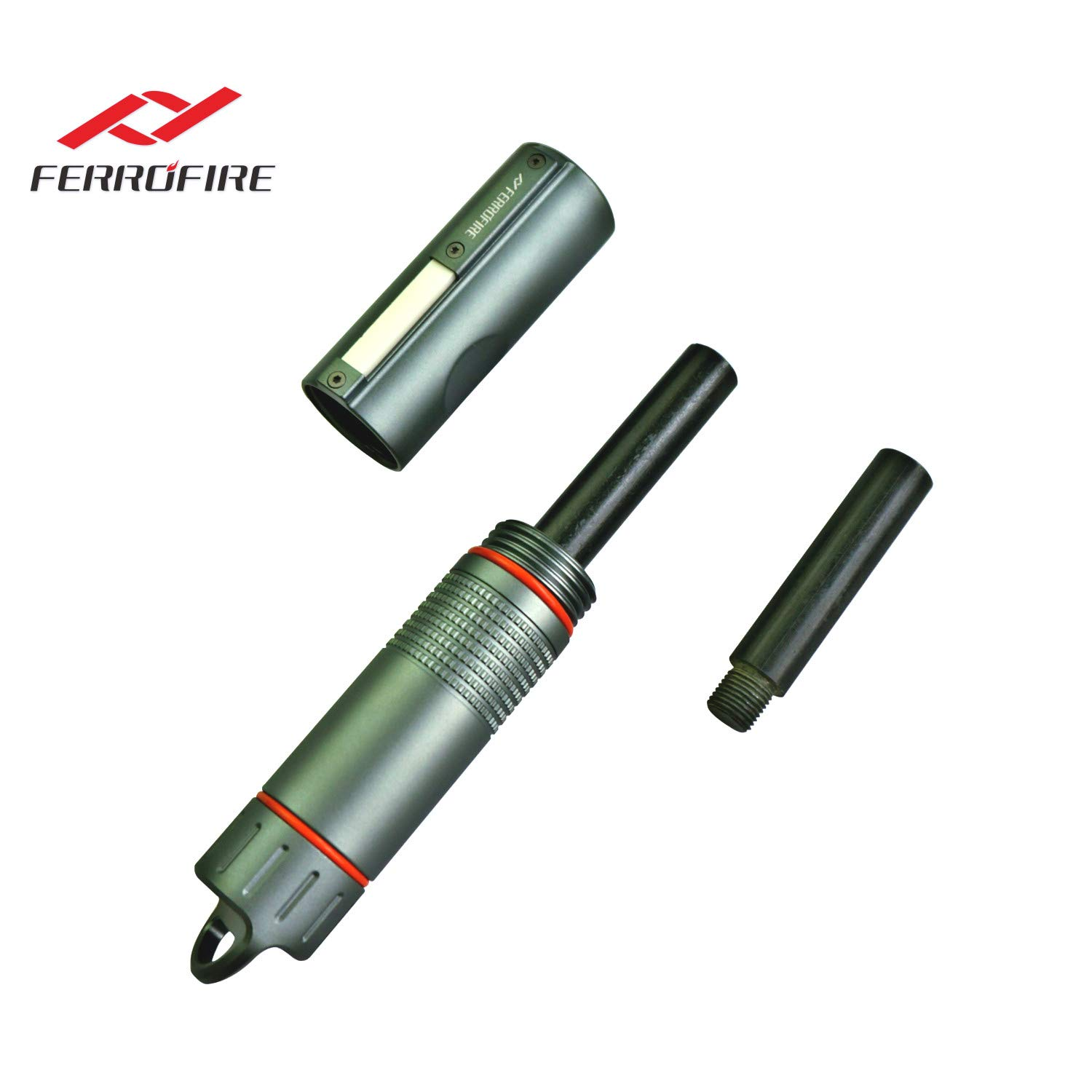 FERROFIRE Fire Starter XXL (S10E1) 1/2 inch diameter replaceable ferro rod + 1 standby rod, compact package. Truly for All Weathers and A Lifetime of Use, Waterproof Capsule, Built-in Striker, Compass by FERROFIRE