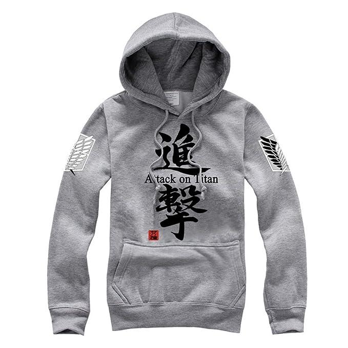 Shingeki No Kyojin Ataque a los titanes - Sudadera con capucha, con cremallera, disfraz, cosplay, diseño de logo con alas Gris 3 S : Amazon.es: Ropa y ...