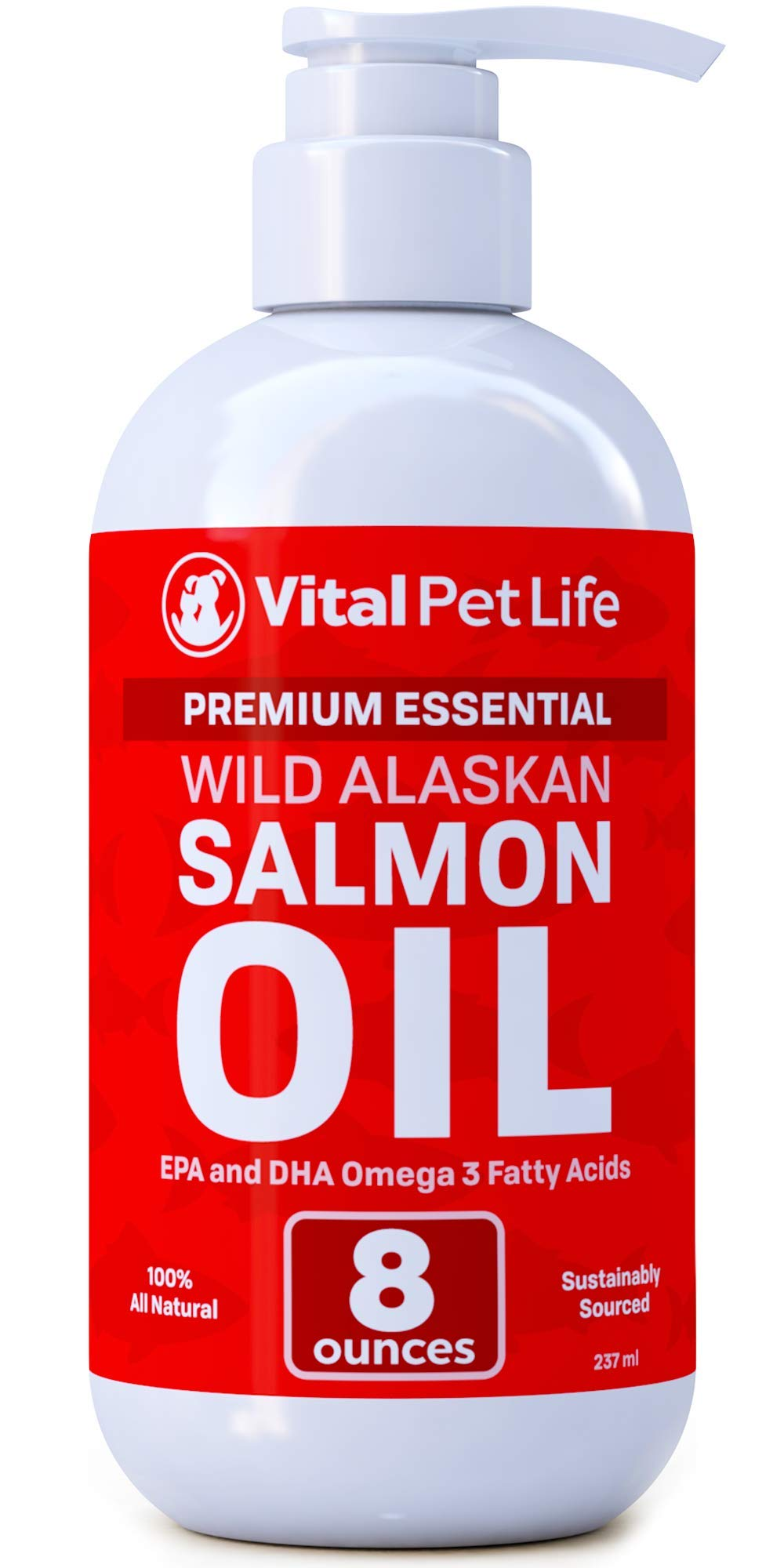Salmon Oil for Dogs, Cats, and Horses, Fish Oil Omega 3 Food Supplement for Pets, Wild Alaskan 100% All Natural, Helps Dry Skin, Allergies, and Joints, Promotes Healthy Coat, Helps Inflammation, 8 oz by Vital Pet Life
